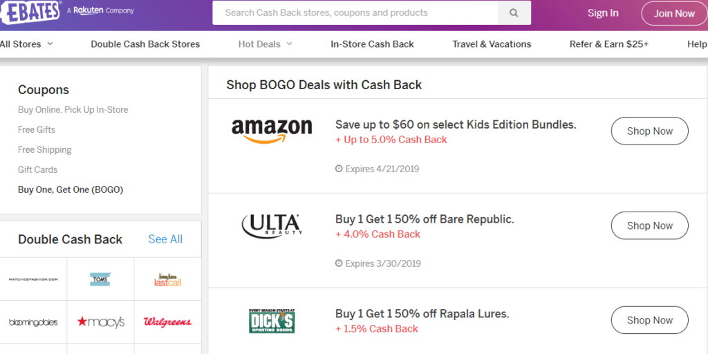 Ebates offers exclusive coupons and discounts