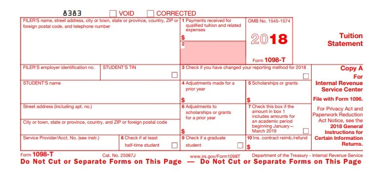 1098-T Form for student tax returns. Source: IRS.gov
