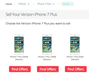 uSell's iPhone selling interface.