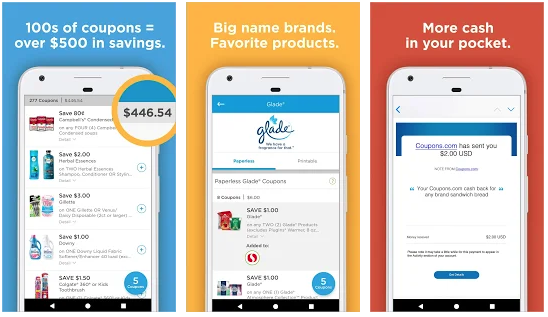Coupons.com is a very basic mobile app that digitizes the coupon-clipping process.