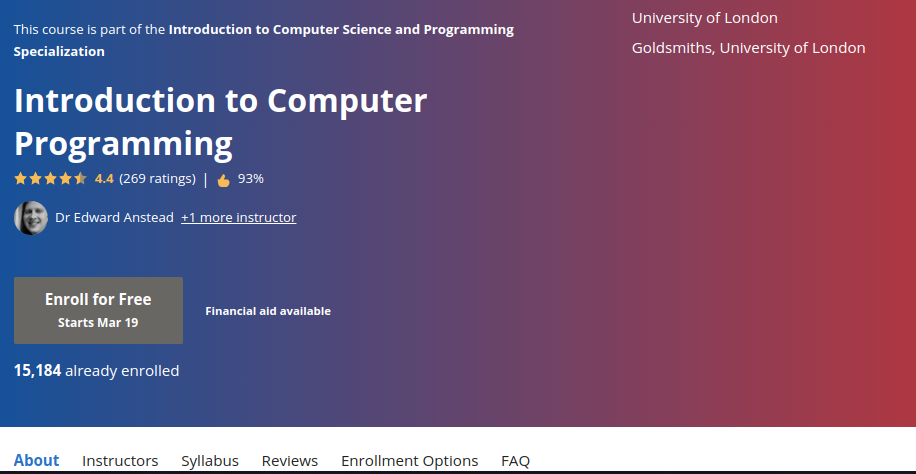 3. Introduction to Computer Programming by the University of London Goldsmiths