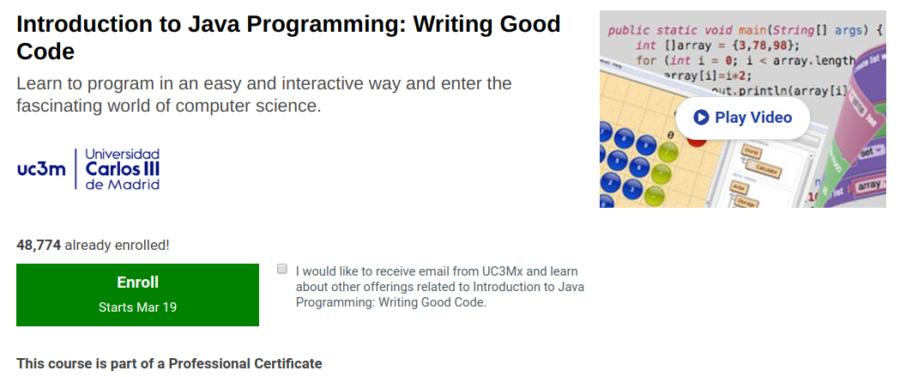 6. Introduction to Java Programming: Writing Good Code by the Universidad Carlos III de Madrid